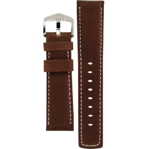 Hirsch Mariner Replacement Watch Strap Brown Genuine Textured Leather 22mm