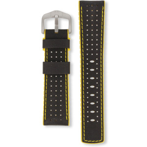 Hirsch Robby Replacement Watch Strap Black And Yellow Genuine High-Tech Leather 22mm