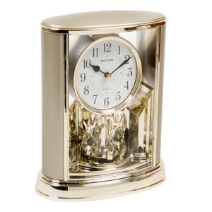 Rhythm Mantel Clock Gold Tone With Rotating Pendulum 4SG724WR18