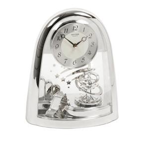 Rhythm Mantel Clock Arched Pendulum Silver 4SG607WS19
