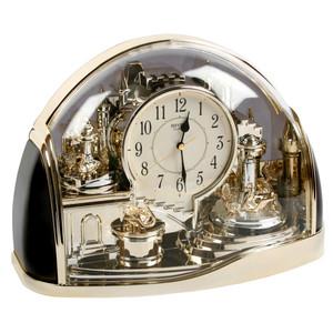 Rhythm Twin Pendulum Mantel Clock Half Moon Arched Gilt Design 4SG738WR18