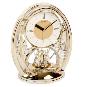 Rhythm Twist Pendulum Oval Mantel Clock