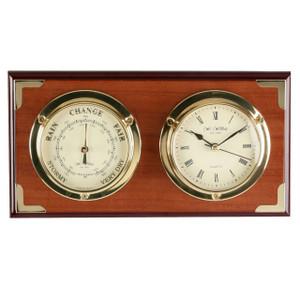 Widdop Luxury Two Tone Wooden Double Dial Barometer