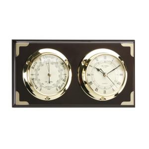 Widdop Classic Marine Clock and Barometer Set Mounted On Plinth