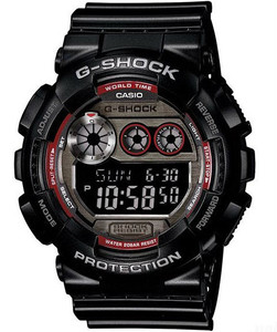 Casio G-Shock Mens Black Chronograph Watch with Resin Strap GD-120TS-1ER