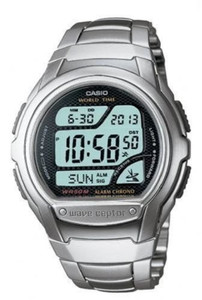 Casio Men's Wave Ceptor Radio Controlled Silver Watch WV-58DU-1AVES