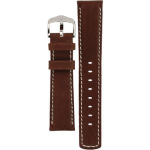 Hirsch Mariner Replacement Watch Strap Brown Genuine Textured Leather 20mm