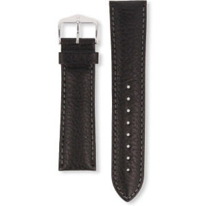 Hirsch Forest Replacement Watch Strap Black Genuine Textured Leather 22mm