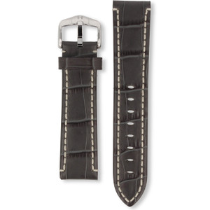 Hirsch Knight Replacement Watch Strap Grey Genuine Exotic Embossed Leather 22mm