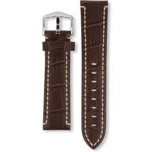 Hirsch Knight Replacement Watch Strap Brown Genuine Exotic Embossed Leather 22mm