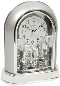 Rhythm Decorative Mantel Clock Chrome with Swarovski Crystal Pendulum 4SG696WR19