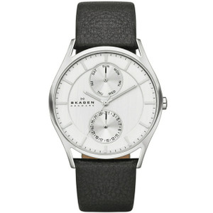 Skagen Holst Men's Multifunction Black Leather Watch SKW6065
