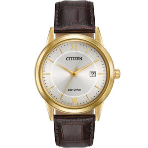 Citizen Men's Gold-Tone Eco-Drive Leather Strap Watch AW1232-04A
