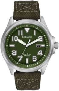 Citizen Military Watch Green Dial Eco-Drive Watch AW1410-16X