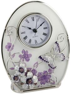 Juliana Glass Mantel Clock Purple Flowers Crystals Butterfly 561CK