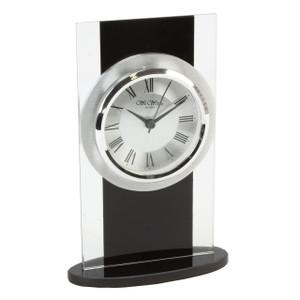 Wm.Widdop Black & Clear Glass Mantel Clock W2703