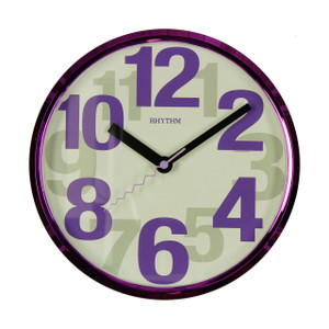 Rhythm Silent Wall Clock Purple With Large Numbers CMG839ER12