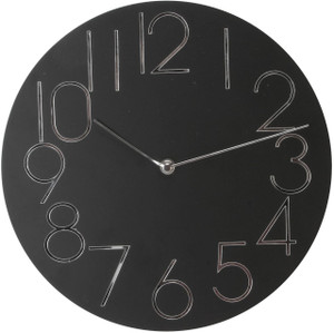 Windsor 30 cm MDF Wall Clock Black Dial Mirror Numerals W7605B