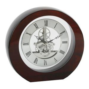Piano Luxury Red Wood Skeleton Mantel Clock W2827