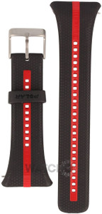 Polar Replacement Watch Strap For FT7 Black And Red With Free Watch Battery