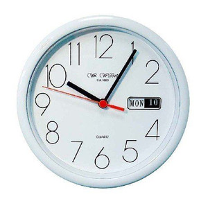 Widdop White Wall Clock With Day and Date Display - 5177W
