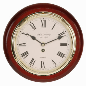 "Widdop Shiny Polished Mahogany Wooden Station Clock 11.5"" W5699"