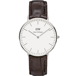 Daniel Wellington Men's York White Dial Brown Leather Strap Watch 0610DW
