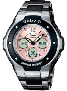 Pink Baby-G Watch With Stainless Steel Links Bracelet MSG-300C-1BER