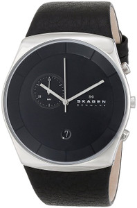 Skagen Men's Havene Black Leather Strap Chronograph Watch SKW6070