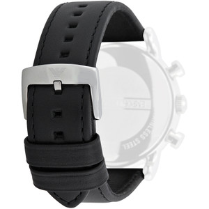 Armani Replacement Watch Strap For AR1733 Black Genuine Leather