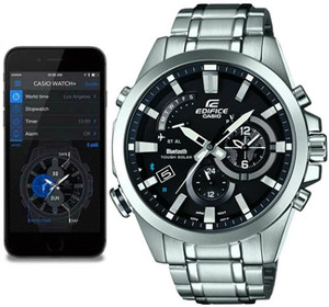 Casio Edifice Analogue Bluetooth Watch Tough Solar Black EQB-510D-1AER Connects to Phone