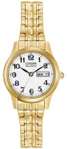 Citizen Ladies Eco-Drive Gold Tone Bracelet Watch EW3152-95A
