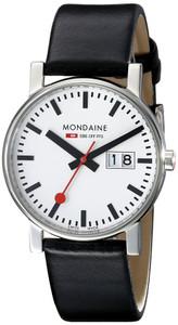 Mondaine Evo Date Gents Black Leather Strap Medium Size Watch A669.30300.11SBB