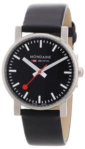 Mondaine Evo Gents Black Leather Strap Watch A658.30300.14SBB (35 mm case)