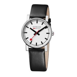 Mondaine Evo Gents Black Leather Strap Watch A660.30344.11SBB (38 mm case)