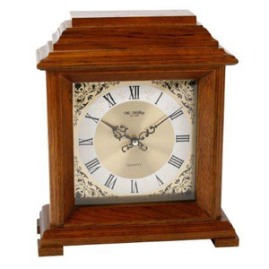 Traditional Walnut Finish Wooden Mantel Bracket Desk Clock W2604W