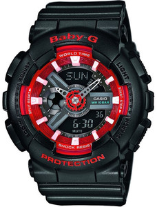 Baby-G Black and Red Watch Digital Analog Dial Chronograph BA-110SN-1AER