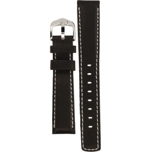 Hirsch Mariner Replacement Watch Strap Black Genuine Textured Leather 18mm