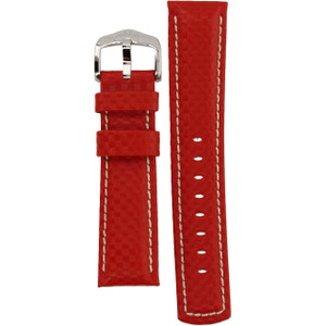 Hirsch Carbon Replacement Watch Strap Red High-Tech Leather 22mm