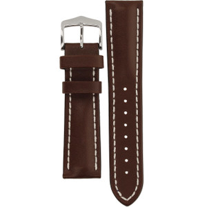 Hirsch Heavy Calf Replacement Watch Strap Brown Genuine Untextured Leather 22mm