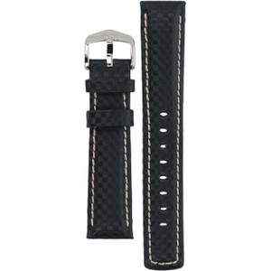 Hirsch Carbon Replacement Watch Strap Navy Genuine Leather 20mm