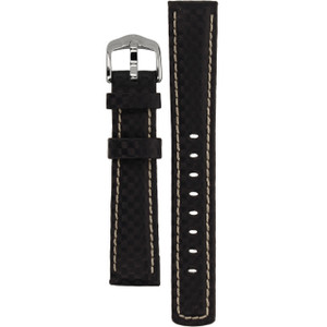 Hirsch Carbon Replacement Watch Strap Navy Leather 18mm