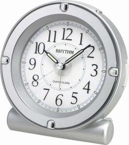 Rhythm Luminous Analog Alarm Clock Silver Plastic 8REA18WR19