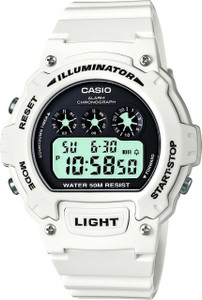 Casio W-214HC-7AVEF Gents Digital Alarm White Strap Black Dial Watch