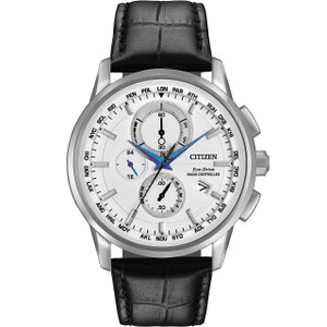Citizen Mens Atomic Time White Dial Black Leather Strap Watch AT8110-02A