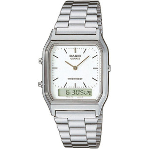 Casio Classic White Analog Dial Silver Bracelet Alarm Watch AQ-230A-7DMQYES