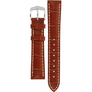 Hirsch Modena Replacement Watch Strap Golden Brown Alligator Embossed Leather 18mm