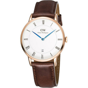 Daniel Wellington Men's Dapper St Mawes Rose Gold 38mm Watch With Brown Leather Strap And Date Display 1100DW