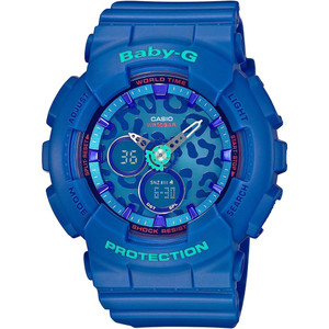 Blue Baby-G Watch With Leopard Dial And Rubber Strap BA-120LP-2AER