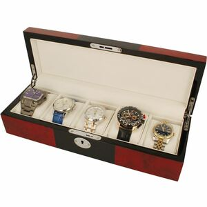 Orbit Watch Box For Men Red And Black Wood Finish With Lock Fits 5 Watches OW176
